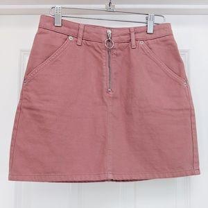 Topshop Moto dusty pink denim mini skirt